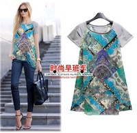 2014 New Flower Print Summer Women Clothing fashion cozy short sleeve casual women shirt chiffon summer loose girl shirt