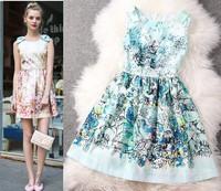 High Street Summer Dress 2014 New Women Dress lady flower Print Pattern Sleeveless Novelty sweet Casual Dress  WA