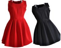 New Women Spring Summer Slim Solid Red Dress Ladies Female Pleated Ball Gown Mini Tank Vest MINI Dress Women Clothing Wholesale