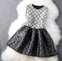 New 2014 Summer Dresses Slim  Sleeveless Mini Vintage Dress Hepburn dress summer cute plaid  tank WA