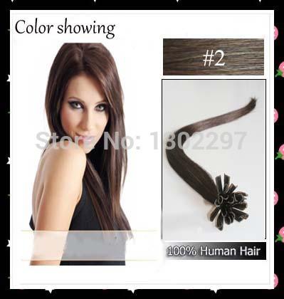 ali cabelo pop brasileiro cabelo virgem #2 darkest brown ponta u queratina macio cola extensão do cabelo humano remy 100s(China (Mainland))