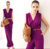 2014 Europe America New Street Fashion Lady Sexy Racerback Open Back V-Neck   Women Jumpsuit  loose summer Jumpsuits JU
