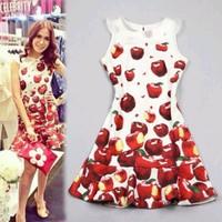 2014 spring and summer European fashion dress apple print Peter pan Collar sleeveless ruffle women dress cute MINI girl dress