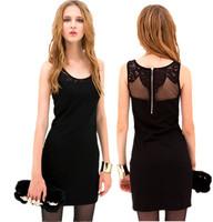 2014 New Summer Women mini dress lace patchwork back-through sexy sleeveless cool sheath girl dress tank cotton  WA