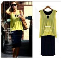 2014 new fashion women Chiffon dress two pieces Casual dress Bohemian sleeveless dress Plus size WA