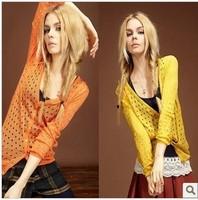 2014 spring and autumn Korean version Mid length thin raindrops hole hollow cardigan sweater dress coat