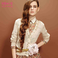 2014 women's knitwear brand cherry blossoms hollow sweater spring and autumn long sleeved cardigan