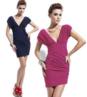 2014 new hot cozy Summer Party Dresses Women's Vintage sexy Style knee-Length silk  Dress v neck hollow out back sexy club
