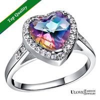 Fashion Heart Shape 925 Sterling Silver Platinum Plated Colours Rhinestone Simulated Diamond Wedding Rings for Women Ulove J480