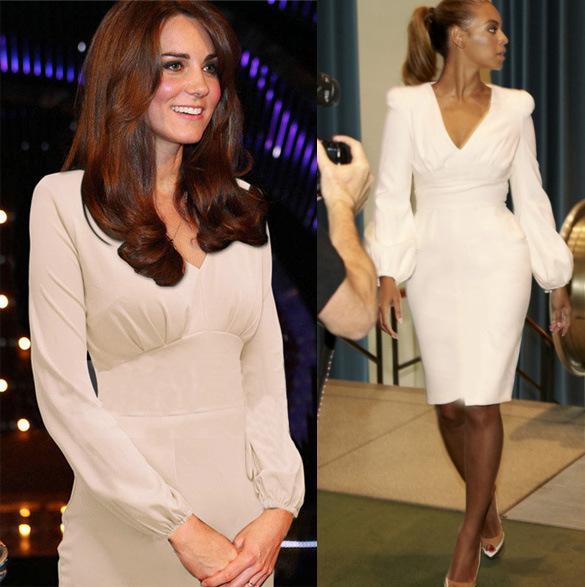 2014 new women dress straight v-neck solid dress office lady dress puff sleeve free shipping(China (Mainland))