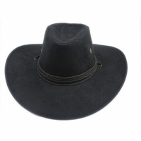 Men Women Jazz Strap Wind Floral Suede Fedora Panama Faux Leather Three String Band Cowboy Western Hat Sun Hat nd