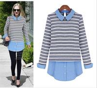 Brand Cheap XL 2xl 3xl 4xl 5xl 6xl plus size women clothings patchwork striped t-shirts 2014 autumn winter cotton denim shirts