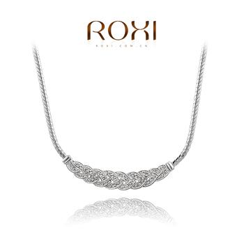 Roxi изящное женское колье ручной работы, изготовленое из белого золота с трех разовым зототым напылением, украшено австрийскими кристаллами,шикарный классический стиль,длина 46см