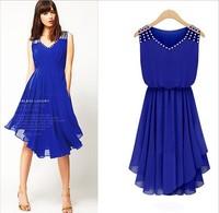 2014 women's chiffon one-piece dress elegant diamond-studded sleeveless spaghetti strap slim summer one-piece dress