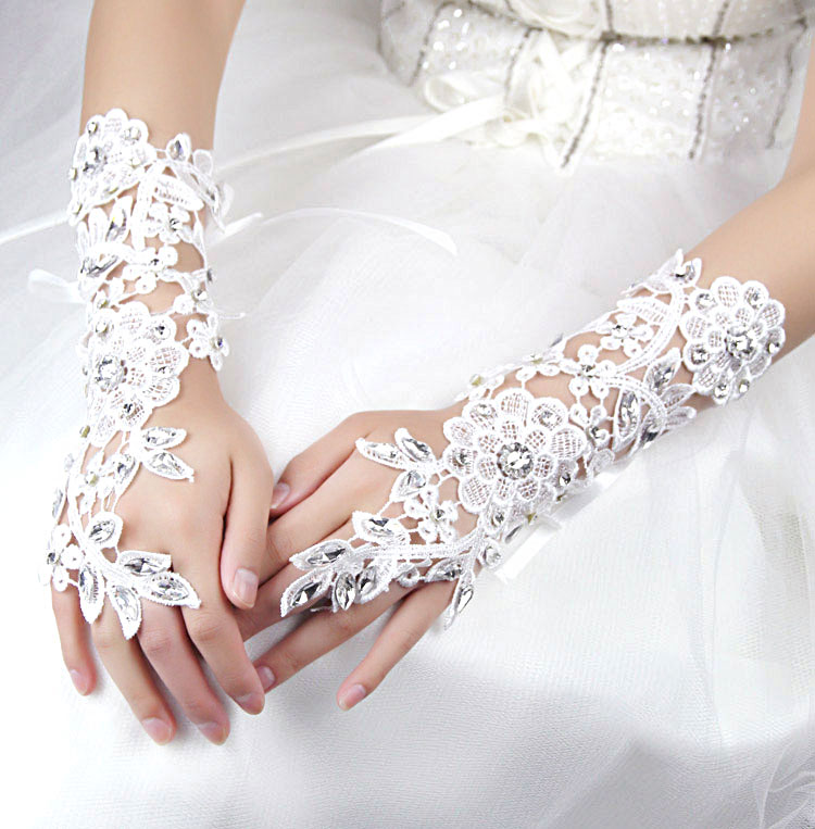 The bride accessories glass rhinestone lace bracelet wrist length jewelry marriage accessories wedding accessories white