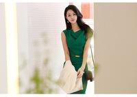 Summer cowl neck slim elegant fashion women office dress sleeveless bandage lady dress 2014 new women clothes dress with belt