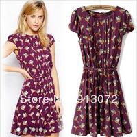 QZ1044 New Fashion Ladies' Elegant bird print pleated purple Dress short sleeve casual slim evening party brand design free belt