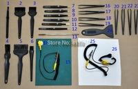 Mixed 26pcs Wide Use Phone PAD DIY Repair Tools, ESD Non-magnetic Tweezers Brushes Mat, Waistband, Cloth, Scraper, Open Tool