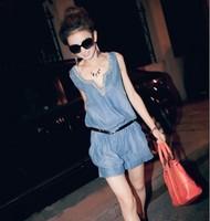 free shipping!New Women sleeveless loose shorts Siamese  diamond collar elastic waist denim shorts piece Belt