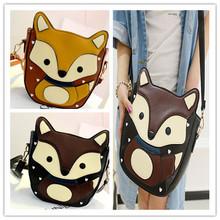 Small Cute Cartoon Animal Bags Fox Clutch Print Women Messenger Bag Unique Cross Body Retro Colorful Shoulder Bags Casual Bolsas(China (Mainland))