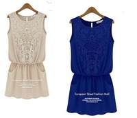 2014 new hot summer Fashion Cozy women clothes elegant summer sexy vest flowers hollow out lace stitching chiffon short dress 05