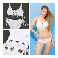New 2014 Rope Bandage Beach Bikinis Set Sexy Push Up Swimwear Women Vintage Swimsuit Fashion Brand Bathing Suit Free Shipping