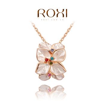 Roxi женское стильное ожерелье-цепочка ручной работы,изготовленое из розового золота с трех разовым зототым напылением,украшено подвеской в виде цветка покрытого разноцветными австрийскими кристаллами,отличное качество
