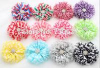 Wholesale Boho leopard naval stripe fabric flowers chiffon flowers rhinestone baby hair accessories DIY flowers 30pcs/lot