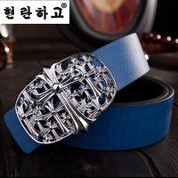 Promotion casual style brand women/men belts Korean genuine leather lady/gentlemen belts Cross design alloy buckle unisex belts