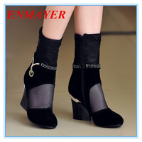 ENMAYER New 2014 Summer shoes2014 Spike Heels Ankle boots For Women Casual Dress Sexy Fretwork Spring Shoes Fashion MartIn Boots