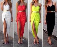 Women Irregular Pleated Beach Long Dress Round Halter Collar Off The Shoulder One Split Sexy Bohemian Maxi Summer Dress