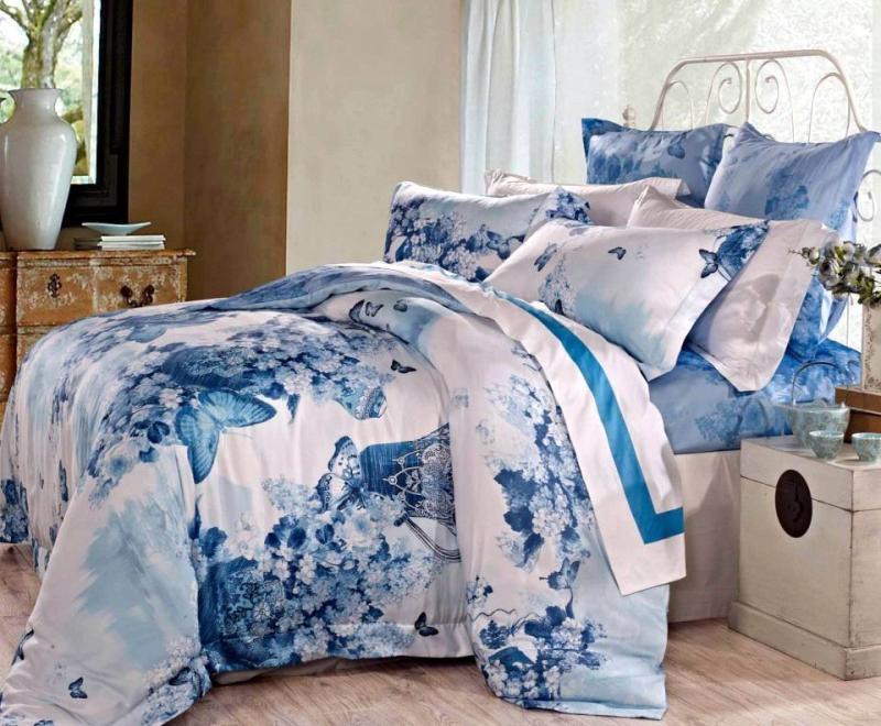 Algodão egípcio azul borboleta floral de cetim de luxo cama king size conjunto rainha capa de edredon colcha colcha folha de cama em um saco(China (Mainland))