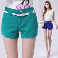 New 2014 women shorts fashion women's Korean high waist shorts women plus size Slim Wavy edge red blue  green short feminino