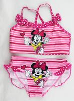 Retail Free shipping Summer Girls Swimwear 2 Piece Cartoon Minnie Mouse Bikini Kids Swimsuits Bathers Tankini Children Beachwear