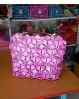 2014 new design fashion beaded DIY lady handbag gifts  pink beautiful handbags