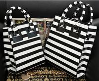 Designer horizontal strip shoulder bag classcial black and white color fashion ladies totes bag PU leather purse