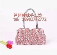 2014 new design fashion beaded DIY lady handbag gifts flowers handbags