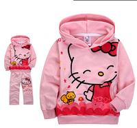 xlbb31 pink hello kitty girls clothing sets 2-7 age girls dress casual children hoodies + kids pants 5pcs/ lot free shipping