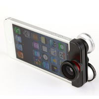 Functional Double Fish Eye Macro Wide Angle Lens 4 in 1 Photo Lens Kit for iPhone 5/5S Hot Sale