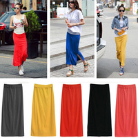 2014 Fashion Womens Summer Candy Color Elastic Slim High Waist Slim Hip Skirt Color Maxi Long Skirts Bohemian Open Fork Skirts