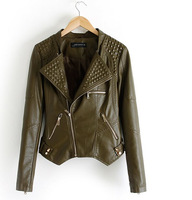 New Arrival 2014 European and American Style Short Slim Handsome Rivet Women's leather Jacket  Army Green Free Shipping
