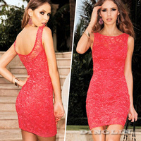 Vogue Sexy Women's Ladies Cut Out Back Floral Lace Bodycon Slim Evening Club Party Mini Dress Big Size S M L Free Shipping 1472