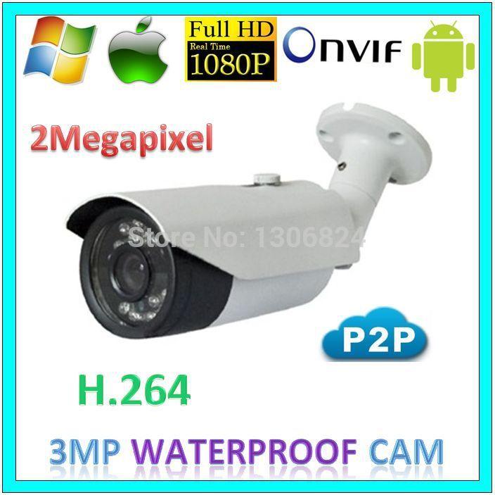 Bullet 1080p 3MP p2p Security Outdoor Camera CCTV System 2.0MegaPixel Network Kam Surveillance IP Waterproof Professional Webcam(China (Mainland))