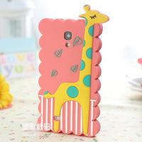 1pieceFor Samsung I9500 / S4 case Mobile Shell cartoon giraffe animal silicone case