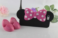 5pcs Fashion  Mickey with holder model  Case   For iphone 5 5S+ protective film as gift  for  Free shipping