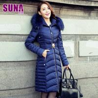 2014 Winter Thicken Warm Woman Down Jacket Raccoon Fur collar Hooded Coat Overcoat Parka Slim Long Plus Size XXL Luxury Black