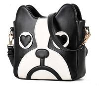 2014 Casual Women  PU Leather Cute Cartoon pattern dog head Shoulder messenger Bag Handbag Bolsa saco caberca Mulheres cao