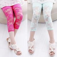 Retail Girls Summer Rose Lace Modal Cotton Leggings Kids Pants MOQ 1pc
