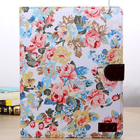 New 2014 Style Cotton Prints Top Quality Leather Cover Tablet Case For iPad 2 3 4 Cases, 1/lot, Free Shipping, cas-HBPT-13