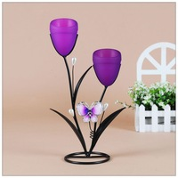 Fashion iron both ends mousse butterfly rustic new homes romantic wedding decoration candle holder